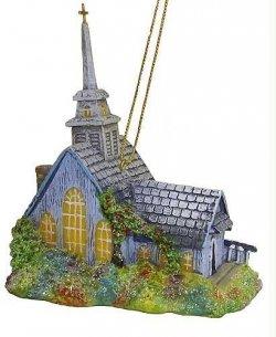 Thomas Kinkade The Forest Chapel Church Christmas Ornament 4″ #TK0100