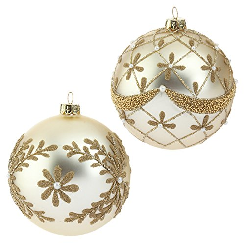 RAZ Imports – 4″ Beaded and Pearl Gold Glass Ball Christmas Tree Ornaments – Set of 2