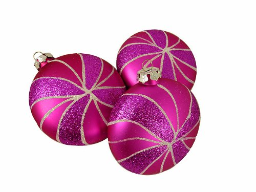 Vickerman 3 Count Candy Fantasy Shatterproof Matte Pink Magenta Swirl Christmas Ornaments, 4″