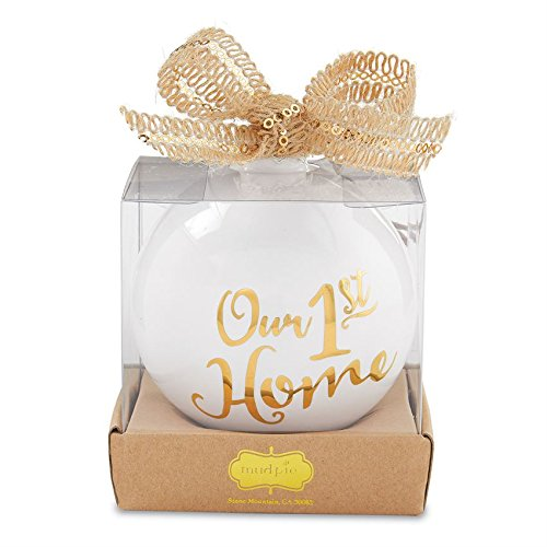 Our 1st Home White & Gold Ceramic Hanging Ornament