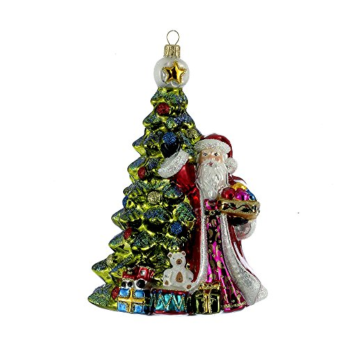Kurt Adler 7.28″ Polonaise Glass Santa Decorating Tree Ornament