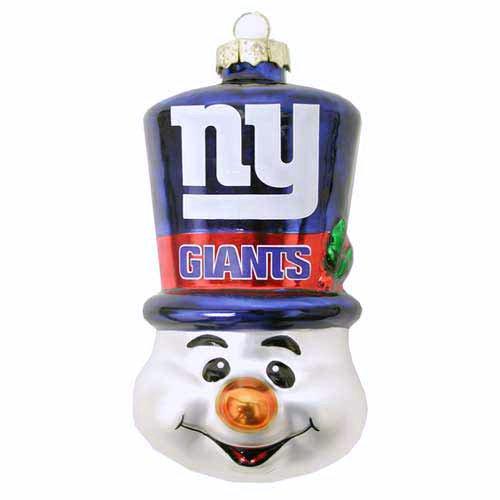 NFL New York Giants Blown Glass Top Hat Snowman Ornament