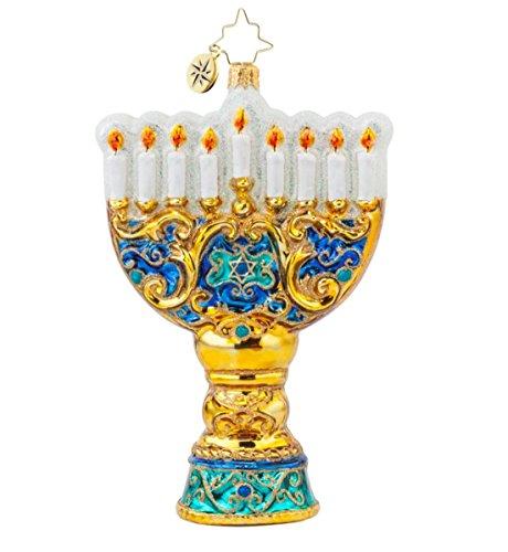 Christopher Radko Glass Seasonal Celebration Hanukkah Menorah Christmas Holiday Ornament #1017746