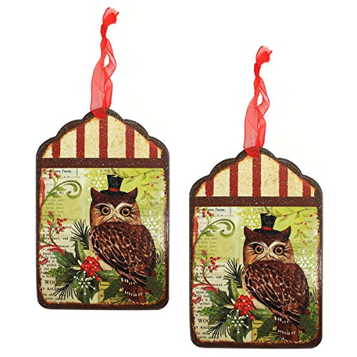 Holiday Lane Vintage-Style 6-inch Woodland Owl Print Tin Tag Christmas Ornaments (Set of 2)
