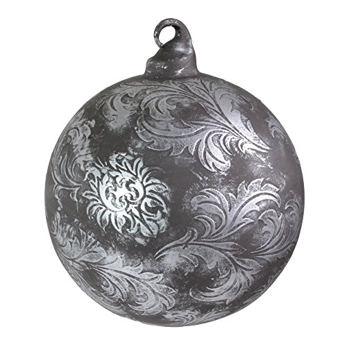 Sage & Co. Scroll Pattern Glass Ornament, 4″ Ball, Antique Pewter