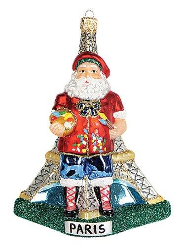 Paris France Santa Polish Glass Christmas Ornament Eiffel Tower Decoration