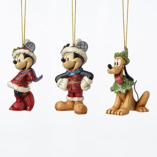 Jim Shore Disney Traditions by Enesco Mickey,Minnie and Pluto 3 Piece Ornament Set