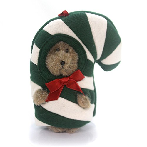 Boyds Green Candy Cane Plush Peeker Bear Ornament #562743 Retired