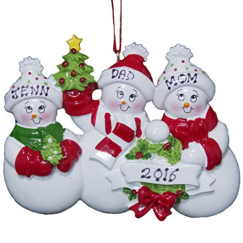 Family of 3 Snowman Personalized Christmas Ornament -Free Customization