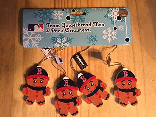 Boston Red Sox Team Gingerbread Men 4 Pack Ornaments