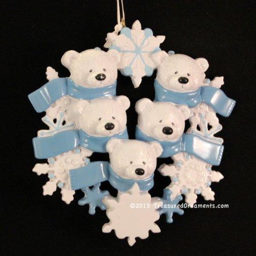 Polar Bear Wreath Family/5 Personalized Ornament