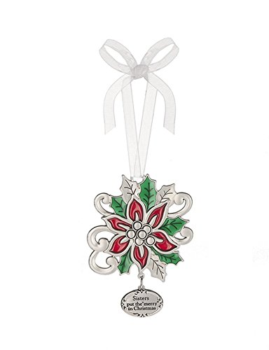 Ganz Christmas Holiday Bright Colorful Ornament With Charm (Poinsettia)