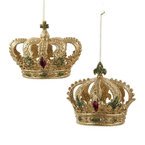 Kurt Adler 3.5-3.875″ Acrylic Gold, Green & Red Glitter Crown Ornament 2/asstd
