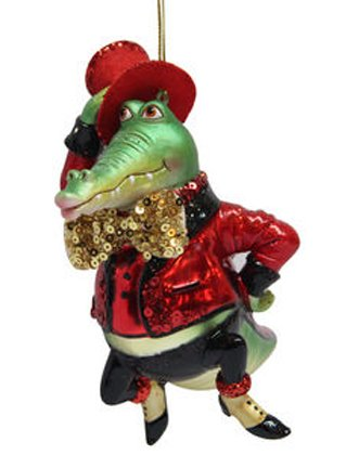 December Diamonds Blown Glass Ornament – Mr. Crocodile in Red Suit and Red Hat