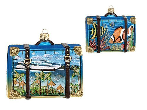 Caribbean Travel Suitcase Polish Blown Glass Christmas Ornament Tree Decoration by Pinnacle Peak Trading Company