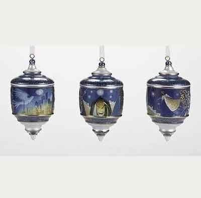 5 Inch High Decal Finial Ornament Set of 3 38181