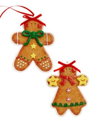 Holiday Lane Set of 2 Gingerbread Cookie Ornaments 4in