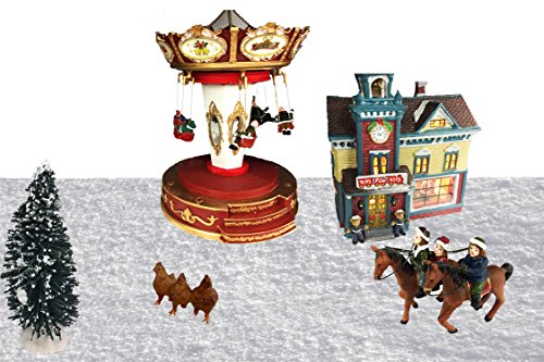 Christmas Vintage Ornament Kit | Riding Horses, Swinging Chair, Roosters, Christmas Tree | A Beautifully Crafted Christmas Village House |