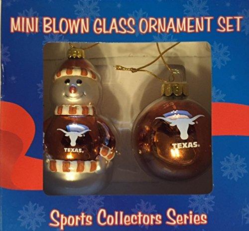 University of Texas Longhorns Mini Blown Glass Ornament Set- Set of 2 Ornaments