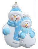 Single Family Snowmen 2 Personalized Christmas Tree Ornament