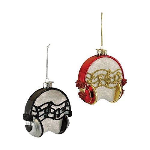 Kurt Adler 4″ Noble Gems Glass Headset Ornament Set of 2