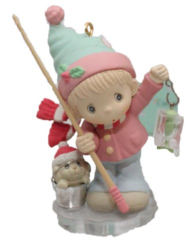 """Precious Moments Christmas Ornament """"Caught up in the Holidays"""" Ice Fishing Vintage"""