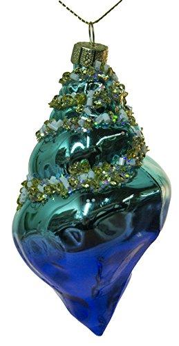 4.5″ Shiny Blue Conch Shell Blown Glass Christmas Ornament (A)