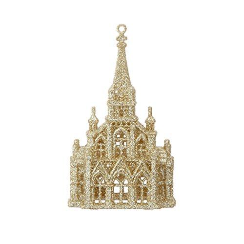 RAZ Imorts – 6″ Gold Glittered Church Christmas Tree Ornament