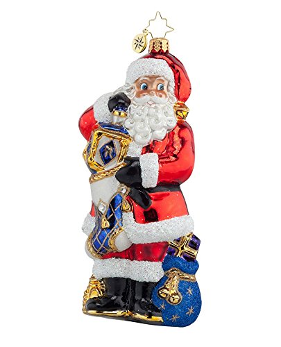 Christopher Radko Glass Celebration Time Santa with Dreidel Hanukkah Christmas Ornament #1017890