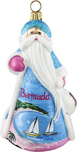 Glitterazzi Bermuda Santa Claus Polish Glass Christmas Ornament Decoration New