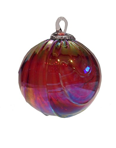 Glass Eye Studio Round Ornament Ruby Draped