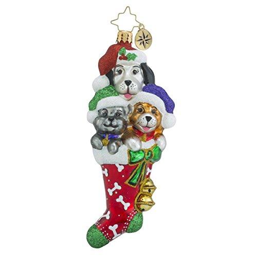 Christopher Radko Stocked Full of Cute Dog Themed Glass Christmas Ornament – 5″h.