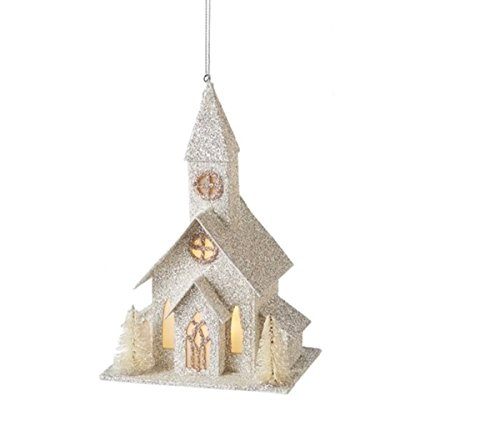 6″ Ice Palace B/O LED Lighted White and Silver Glitter Drenched Church Christmas Ornament