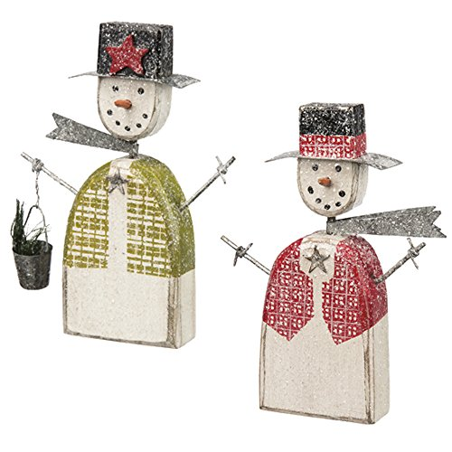 Primitives by Kathy Red & Green Vest Wooden Snowman Ornament Sitter Set