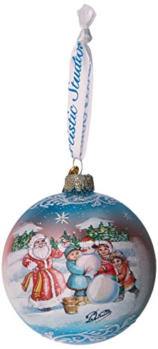 G. Debrekht Christmas Village Glass Ornament, 3.5″