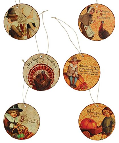 Bethany Lowe Vintage Inspired Thanksgiving Disc Hanging Ornaments (Set/6)