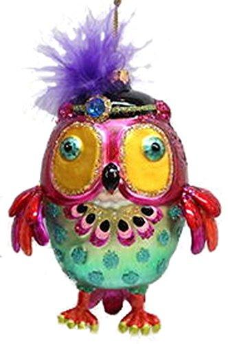 December Diamonds Blown Glass Ornament Owl with Black Hat