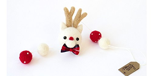 Christmas felt garland, reindeer garland with felt balls, needle felted wool ornament, miniature short garland, Rudolph deer, red and white Xmas decor