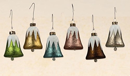 Bethany Lowe Soft Romantic Pastels Mini Mercury Glass Bell Ornaments, Set of 6