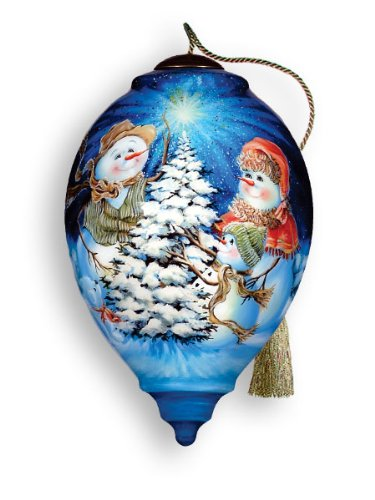 The Snow Family Hand Painted Glass Ornament