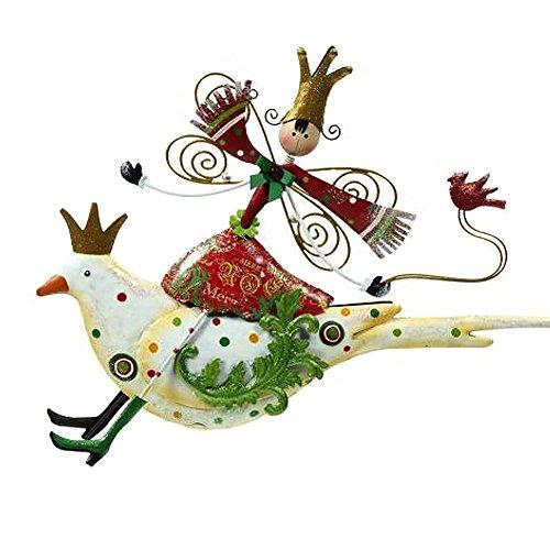 Mark Roberts Christmas Decor-Festive Fairy on Bird Ornament-White