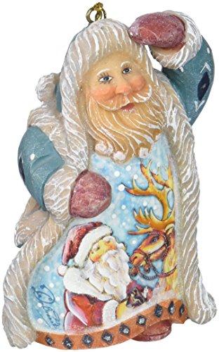 G. Debrekht Santa with Reindeer Ornament, 5″
