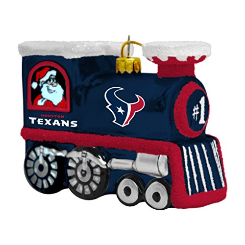 NFL Houston Texans Blown Glass Train Ornament