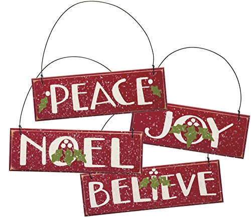 """Ornaments – Set of 4 – Red Wooden Christmas Tree Holiday Home Decor """"Joy"""" """"Peace"""" """"Noel"""" """"Believe"""""""