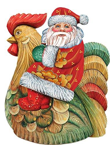 G. Debrekht Santa On Rooster Deco Ornament