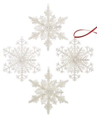 Holiday Lane Set of 4 Glitter Snowflake Ornaments 4.25″, White