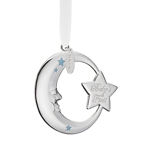 Reed & Barton Baby's First Christmas Moon Ornament- Blue