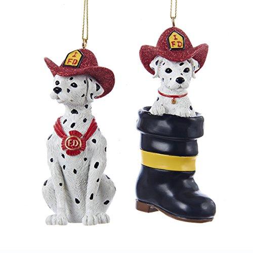 Kurt Adler Fireman Dalmatian Christmas Tree Ornament (set OF 2 Assorted)