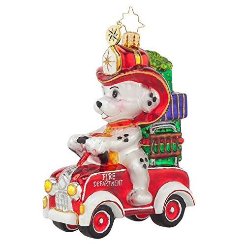 Christopher Radko Glass Five Alarm Puppy Fire Truck Christmas Ornament #1017733