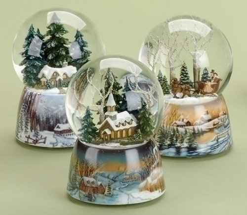 Roman Inc. Winter Church Scene 100mm – Musical Snow Globe Glitter Dome Glitterdome 23958-SNO